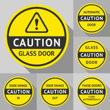 Stickers and Labels on the door Royalty Free Stock Photo