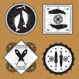 Stickers, labels on the theme of fishing vector Stock Images