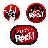 Stickers with Let's Rock!. Vector illustration Royalty Free Stock Image