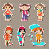 Stickers with little girls Royalty Free Stock Image