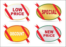 Stickers -low price,special,new price,discount,new price Royalty Free Stock Photography