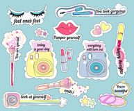 Stickers on make-up theme Stock Photo