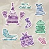 Stickers met de tekeningen van de Waterverfvakantie Stock Foto