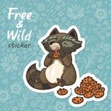 Stickers met een leuke wasbeer Royalty-vrije Stock Fotografie