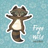 Stickers met een leuke wasbeer Royalty-vrije Stock Foto's