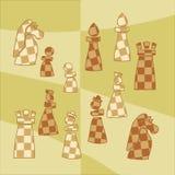 Stickers met gestileerde schaakcijfers Stock Afbeelding
