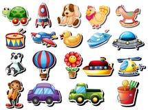 Stickers met verschillend speelgoed worden geplaatst dat vector illustratie