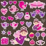 Stickers met vogels, harten, feeën Stock Foto