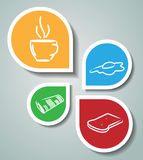Stickers with morning related symbols Stock Photography