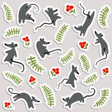 Stickers with mouses and flowers. Labels with cute rats and flor Stock Image