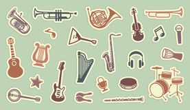 Stickers of musical instruments. Silhouettes of various musical instruments on stickers Stock Photos