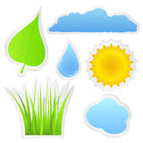 Stickers with nature elements Royalty Free Stock Photo