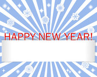Stickers New Year, snowflakes and blank banner Royalty Free Stock Image