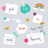 Stickers and note papers collection. Different scraps of paper s Royalty Free Stock Photography