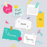 Stickers and note papers collection. Different scraps of paper s Stock Image