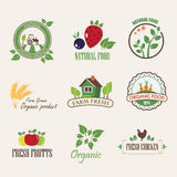 Stickers for organic products Stock Photo