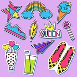 Stickers and patches collection. Trendy fashionable pins, labels for gilrs Stock Photos
