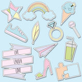 Stickers and patches collection. Trendy fashionable pins, labels in soft pastel colors stock image
