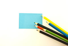 Stickers and pencils Royalty Free Stock Images