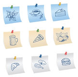 Stickers with pins and food symbols Stock Images