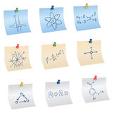 Stickers with pins, science and education symbols Stock Photography