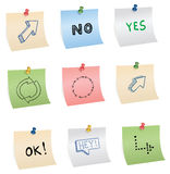 Stickers with pins and symbols Stock Photo