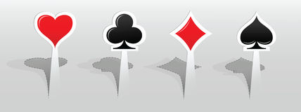 Stickers with playing card signs Royalty Free Stock Photo