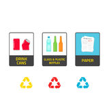 Stickers for recycling trash bins vector illustration isolated on white Stock Photos