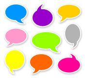 Stickers of rounded color comics text bubbles. With shadow Stock Image