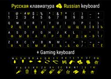 Stickers for Russification of the keyboard. Stickers for the game keyboard. Vector illustration. Stock Photo