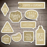 Stickers on rustic wood background for cafe and restaurant. Vector illustration Stock Photos