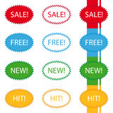 Stickers sale free new hit label Royalty Free Stock Photo