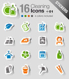 Stickers - Schoonmakende Pictogrammen Stock Foto
