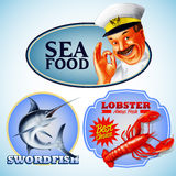 Stickers sea. Food menu and banner for restaurant Stock Photo