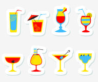 Stickers set with alcohol cocktails. Flat cartoon style collecti Royalty Free Stock Images
