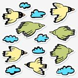 Stickers set with birds and clouds. Collection of funny flying a. Nimals in the sky. Vector illustration in doodle hand drawn incomplete children style. Design Vector Illustration