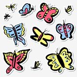 Stickers set with cute butterflies. Collection with funny insect. S in doodle sketchy style. Vector artistic illustration. Colorful hand drawn design element Royalty Free Illustration