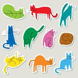 Stickers set with doodle cats. Collection with domestic pets in. Incomlete cute funny childrens style. Vector illustration for design elements vector illustration