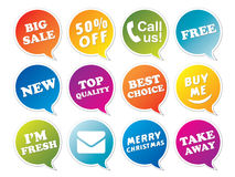Stickers set in form of speech bubbles. Stock Photo