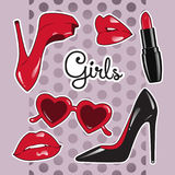 Stickers set for girls over cute purple polka dot background. High heeled shoes, heart shaped glasses, glossy lips, lipstick Royalty Free Stock Photo