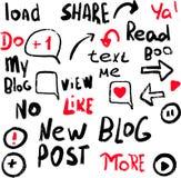 Stickers set for media blog content. Vector hand drawn illustration design.For bloggind, blog cover, vlog design royalty free illustration