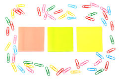 Stickers and a set of paper clips Royalty Free Stock Image