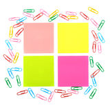 Stickers and a set of paper clips Royalty Free Stock Photo