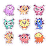 Stickers set pop art style with cartoon monster kids. Stickers set pop art comic style with cartoon monster kids Royalty Free Stock Photo