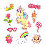 Stickers set pop art style with unicorn. Stickers set pop art comic style with cartoon animals and food, unicorn, kitten, cloud and rainbow Stock Photos