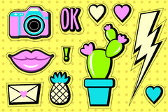 Stickers set 90s. Cartoon patch badges. Stock Image