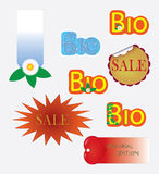Stickers. Set of stamps bio sale Royalty Free Stock Photo