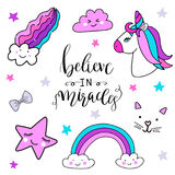 Stickers set with unicorn, rainbow, star, cloud, magic cat face, smiling star for girls Royalty Free Stock Images