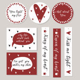 Stickers set in white red with hearts and declarations of love. St Valentine styled. Vector illustration Royalty Free Illustration
