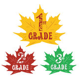 Stickers in the shape of maple leaves primary Stock Photography